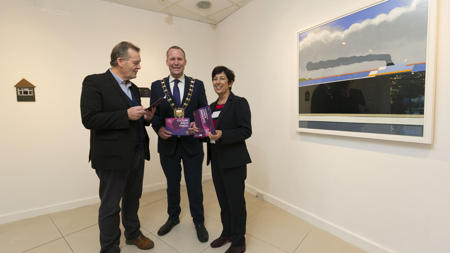 Fingal Arts Officer Rory O'Byrne, Mayor of Fingal Cllr Eoghan O'Brien, Fingal CoCo Director of Services, Margaret Geraghty