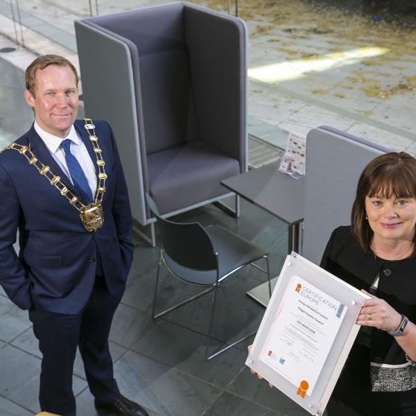 The Mayor of Fingal, Cllr Eoghan O'Brien, and the Chief Executive of Fingal County Council, AnnMarie Farrelly, pictured with the ISO50001 Certificate which the Council has received from Certification Europe for its Energy Management System.