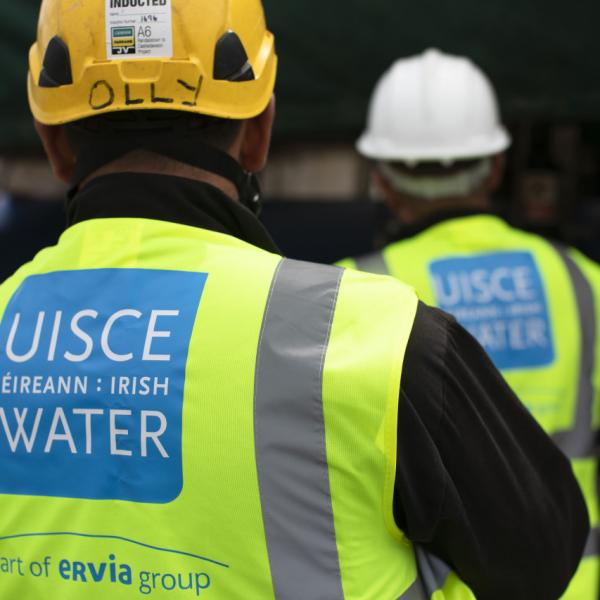 Irish Water workers carrying out water works