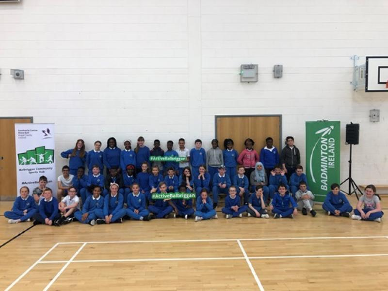 Students of Balbriggan Schools at the final blitz of the Schools Badminton Programme
