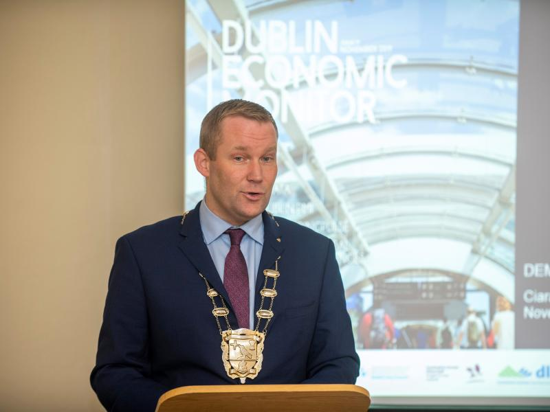 Mayor of Fingal Cllr Eoghan O'Brien launches the 19th edition of the Dublin Economic Monitor at Newbridge House in Donabate.