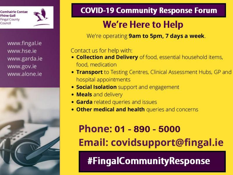Graphic outlining services available from the Fingal COVID-19 Community Response Forum