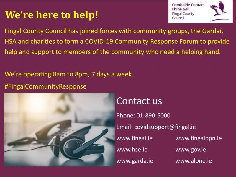 Graphic showing 01-8905000 as the number of the Fingal Community Response helpline and covidsupport@fingal.ie as the email address