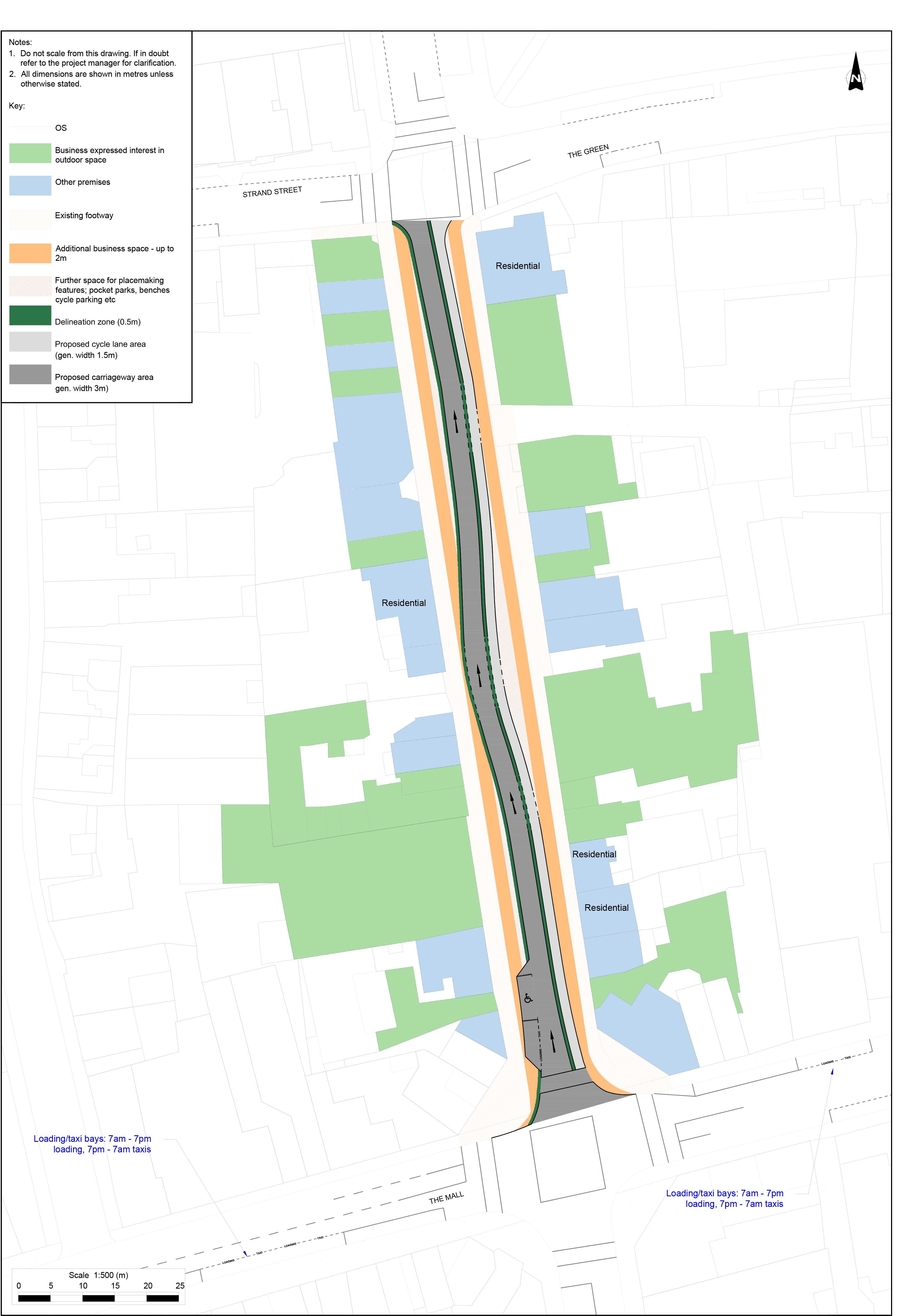 A map of the alternative proposal for New Street, Malahide