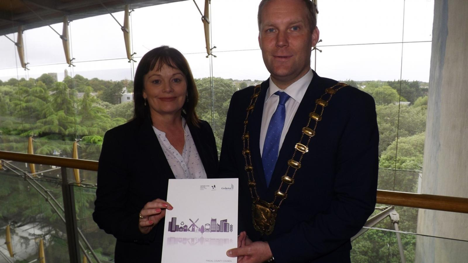 Pictured at the launch of Fingal County Council's Climate Change Action Plan 2019-2024 are Interim Chief Executive AnnMarie Farrelly and Mayor of Fingal Cllr Eoghan O'Brien.